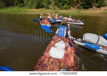 Canoeing on the Kama river, Doksha district, Russia - 07.06.2014: Editorial. Group of canoes
