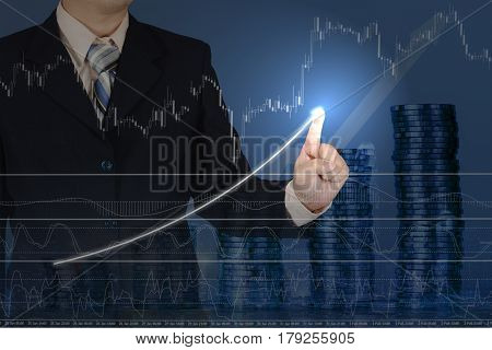 Double Exposure Businessman Touching Financial Chart With Piles Of Coins