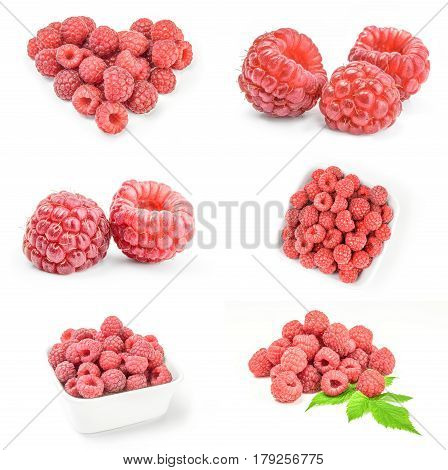 Group of raspberries isolated over a white background