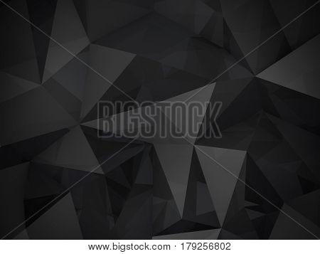 3D Illustration - Black low poly texture.