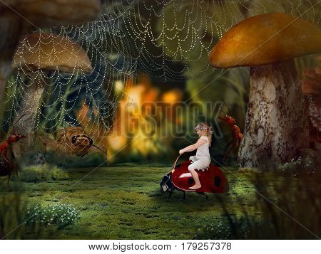 The little girl in the macrocosm. The child shrank to the size of insects. Children's fairy tale