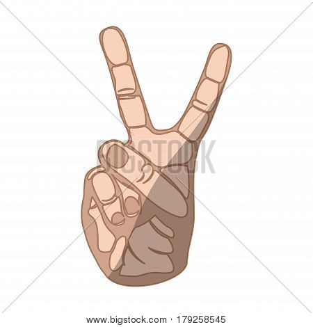 sketch silhouette skin color hand with two fingers symbol in relief vector illustration