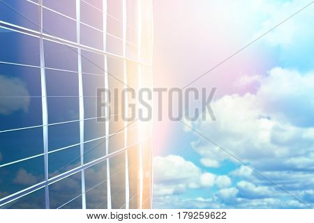 Blurry animated flare against scenic view of blue sky 3d