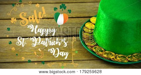 Print against st patricks day leprechaun hat with gold chocolate gold coins 3d