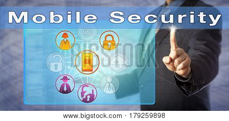 Male blue chip consultant is urging for Mobile Security. Information technology metaphor and computer security concept for mobile phone security cybersecurity in mobile computing and on smartphones.