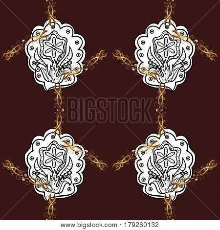 Seamless classic vector golden pattern. Floral ornament brocade textile pattern glass metal with floral pattern on brown background with golden elements.
