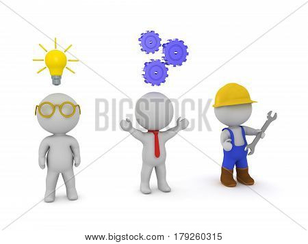 Three 3D characters an inventor an entrepeneur and a worker. Signifying the three types of work. Mental work social work and manual labour.