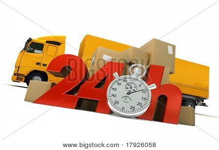 3D rendering of  a pile of packages  and a truck with the words 24 Hrs and a chronometer