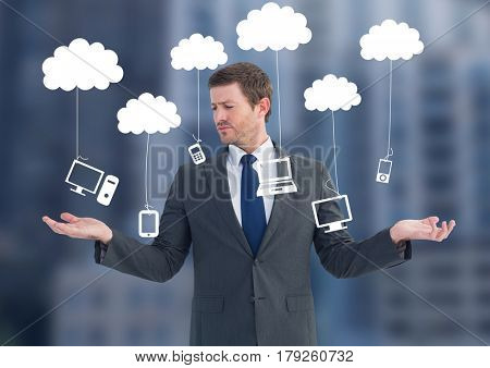 Digital composite of Man choosing or deciding clouds hanging technology with open palm hands