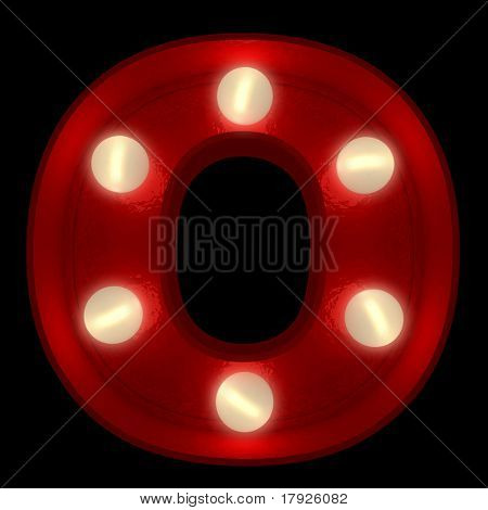 3D rendering of a glowing letter O ideal for show business signs