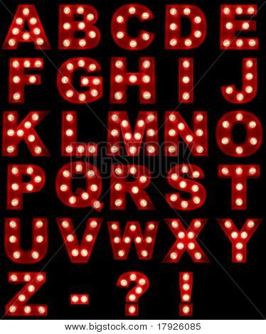 3D rendering of a glowing alphabet ideal for show business signs