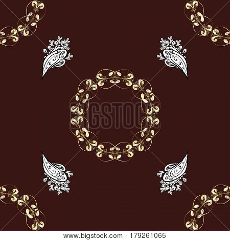 Classic vintage background. Traditional orient ornament. Seamless pattern on brown background with golden elements and white doodles. Seamless classic vector golden pattern.