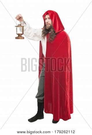 Medieval Man In Cape With Lamp Isolated