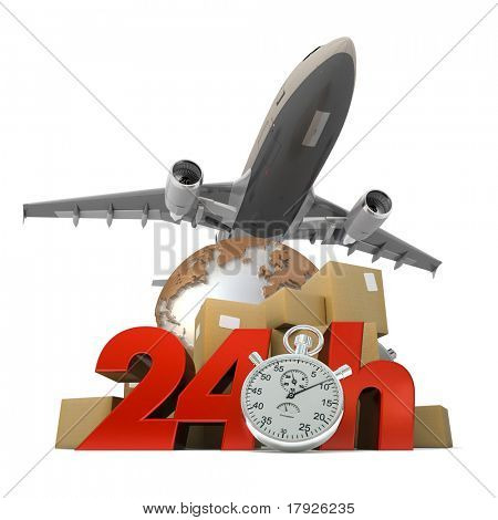 3D rendering of  a pile of packages a van, a truck and an airplane with the words 24 Hrs and a chronometer