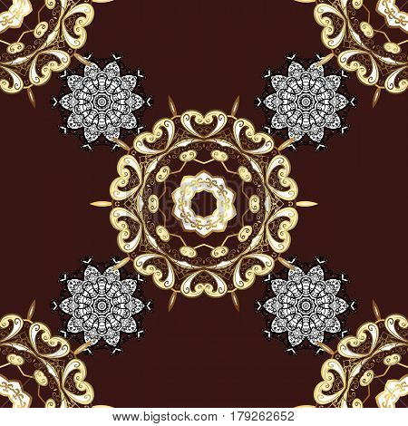 Traditional classic golden pattern. Golden pattern on brown background with golden elements. Vector oriental ornament. Seamless oriental ornament in the style of baroque.