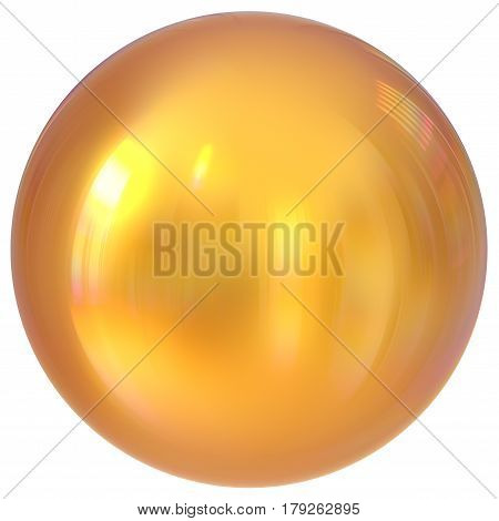 Golden sphere round button ball basic circle geometric shape  3d illustration