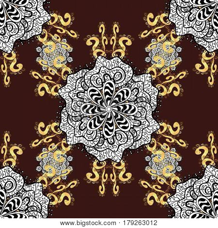 Antique golden repeatable sketch. Damask seamless pattern repeating background. Gold brown floral ornament in baroque style. Golden element on brown background.
