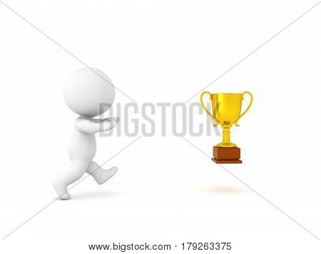 3D Character chasing success symbolized by a golden trophy. Conveying that happiness for a lot of people is just out of reach.
