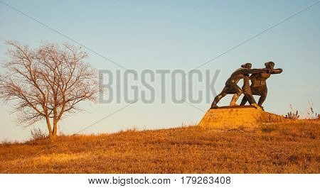 Monument to the Workers of the Rear of the Great Patriotic War in the village of Millerovo, Rostov Region. Russia, Millerovo. October 30, 2015
