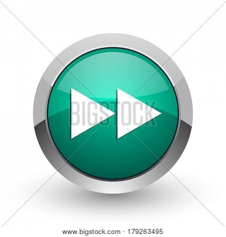 Rewind silver metallic chrome web design green round internet icon with shadow on white background.