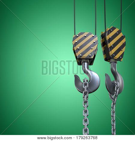 Studio Shoot of a crane lifting hook against green vignette