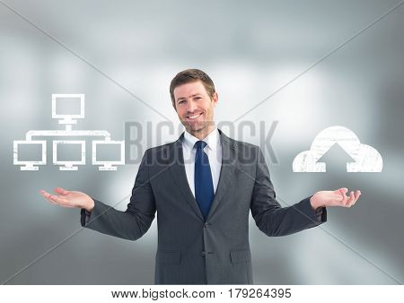 Digital composite of Man choosing or deciding server or cloud computing with open palm hands