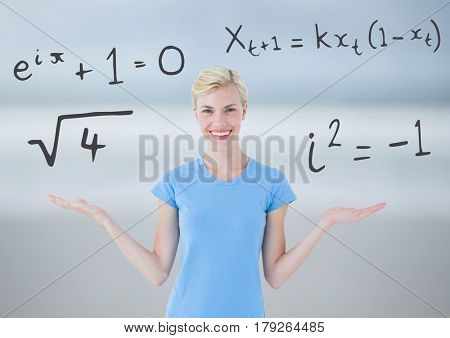 Digital composite of Woman choosing or deciding math equations with open palm hands