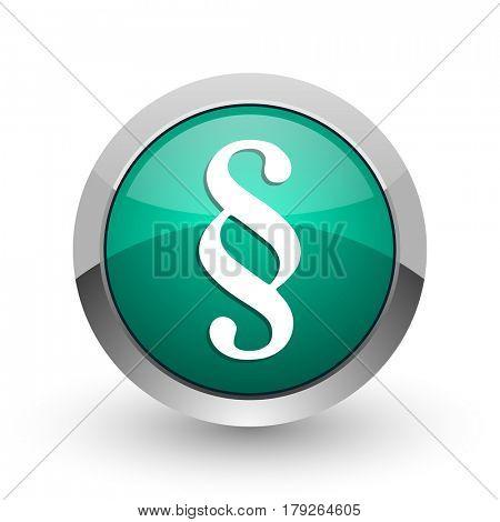 Paragraph silver metallic chrome web design green round internet icon with shadow on white background.