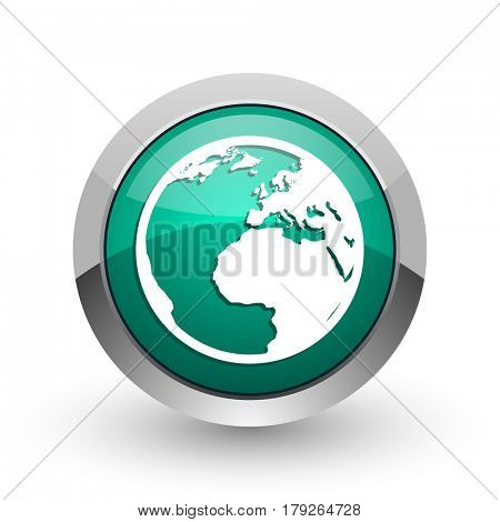 Earth silver metallic chrome web design green round internet icon with shadow on white background.