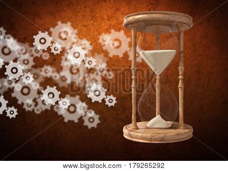 Digital composite of Egg Timer with sand and cog wheel settings icons against brown background