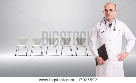A doctor with a row of white chairs at the background