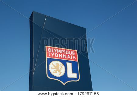 Decines, France - February 19, 2017:Olympique Lyon commonly referred to as simply OL is a French football club based in Lyon. It plays in France's highest football division, Ligue 1