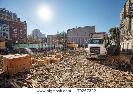 Chicago USA - October 14 2016: Demolition site in Chicago downtown land preparation for new investments.
