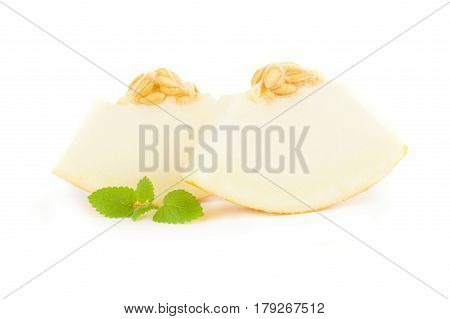 Yellow cantaloupe isolated on a white background cutout