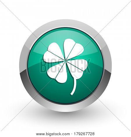 Four-leaf clover silver metallic chrome web design green round internet icon with shadow on white background.