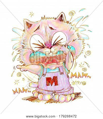 Cat crying look very poor and sue His finger pointing to some one made he crying Cartoon cute character design pencil color hand drawing.