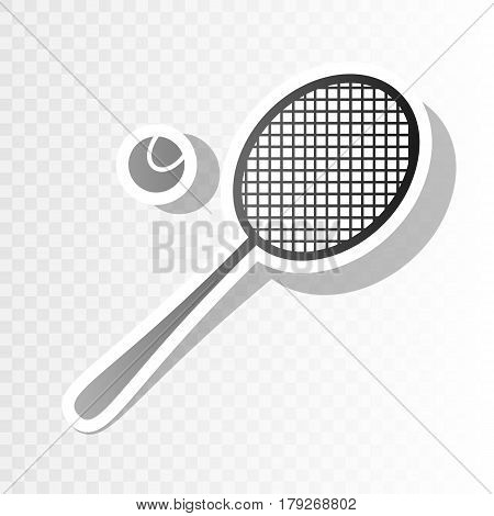 Tennis racquet sign. Vector. New year blackish icon on transparent background with transition.