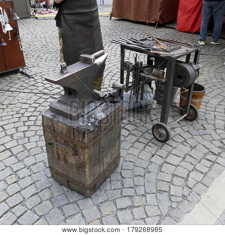 Iron Art Craft With Hammer And Fire
