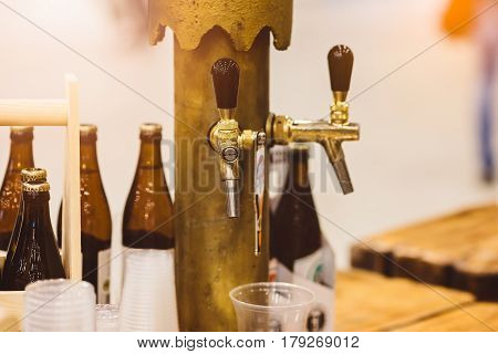 Old Golden Beer Dispenser In Pub