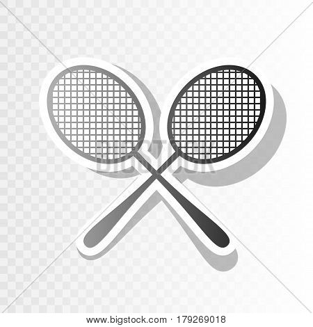 Tennis racquets sign. Vector. New year blackish icon on transparent background with transition.