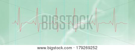 Digitally generated image of electrocardiography against dna strands on green background 3d
