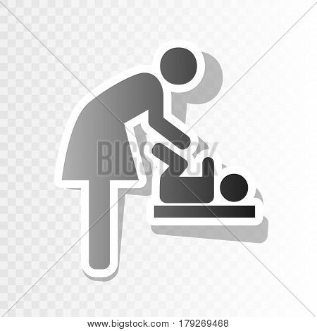 Symbol for women and baby, baby changing. Vector. New year blackish icon on transparent background with transition.