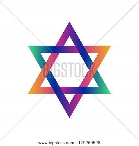 David star colorful vector symbol. Rainbow icon