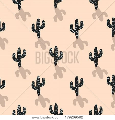 Cactus plant vector seamless pattern. Abstract cartoon blush color desert fabric print. Scandinavian style cacti for wallpaper and apparel.