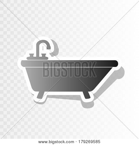 Bathtub sign illustration. Vector. New year blackish icon on transparent background with transition.