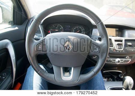 Paris, France, march 31, 2017: Driver sitting at the steering wheel in renault laguna car
