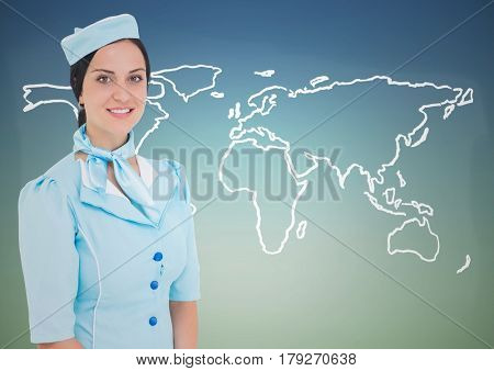 Digital composite of Stewardess against white map against blue green background