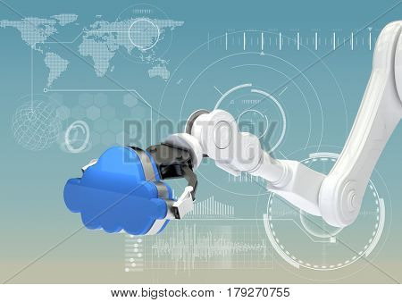 Digital composite of White robot claw with blue cloud against white interface and blue background