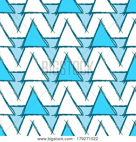 Seamless pattern with hand drawn blue triangles. Sketch design for print, home decor, textile, wrapping paper, invitation card, fashion fabric etc. Vector illustration.