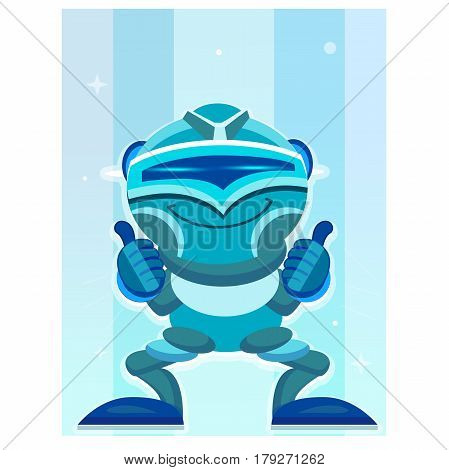 Robot Great Idea. Business idea concept. Blue Robot with a thumb up